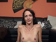 Hot beau enjoeyd excellent blowjob by German whore in full and poured seed over her face 11