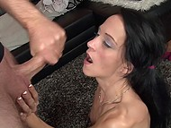 Hot beau enjoeyd excellent blowjob by German whore in full and poured seed over her face 8