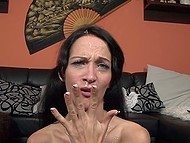 Hot beau enjoeyd excellent blowjob by German whore in full and poured seed over her face 9