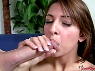 Hard up buddy shoved his cock into pretty girl's mouth and several minutes later he came 5