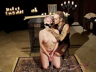 Experienced debauchee spanked short-haired cutie and made vagina soaked wet in the basement