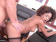 Amatory Mulatto is perfectly happy that boss makes passes to her at workplace 10