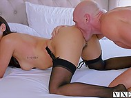 Secretary Vicki Chase put on sexy lingerie and entered bald boss' room to have morning sex 8