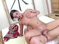 Slender beauty gently forced dick to get hard then had anal sex in the massage parlor