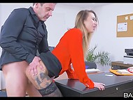 Golden-haired secretary with tattooed body helps boss to relieve stress at the end of the day of work 10