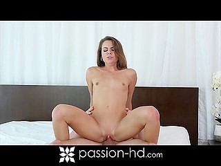 Stroking pussy in the shower is not enough for cutie so her lust gets appeased by bald dude's dick