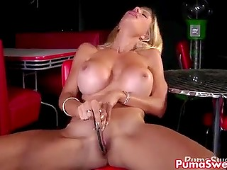 Raunchy Sweden pornstar Puma Swede stimulates vagina with metallic hook in loneliness