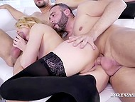 Sexy blonde secretary wants to please her bosses and she allows to drill her holes 8