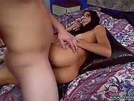 Tanned Arab hottie remains just in hijab and presets tight vagina to white fucker