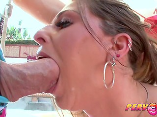 Big-tittied MILF with pierced nipples sucked cock, obtained cum on tongue, and swallowed
