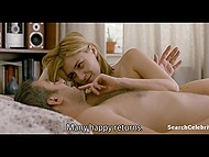 Fragment from movie shows two people lying in bed naked and having fun 5