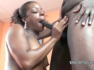 Ebony babe is a real cocksucker so guy's dick is all that she needs and she swallows till the last drop in the end