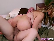 Asian sexpot stimulates her pussy with vibrator and that action prepares her for sex on high speed 5