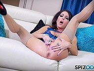 Horny MILF pornstar Jessica Jaymes in beautiful lingerie appeases her lust with helping of metallic dildo 3