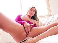 Curvy pornstar Samantha Saint undresses and starts to fuck herself with fingers 11