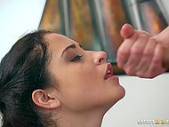 Innocent naughty babe seduced stepdad's friend and fucked him right on the pool table 11