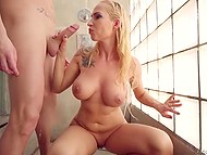 Busty blonde gives boyfriend nice blowjob and after that is fucked right under the shower 8