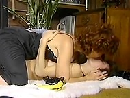 Vintage porn video with participaton of perverted MILFs, who are hunting for hard penises 5