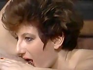 Vintage porn video with participaton of perverted MILFs, who are hunting for hard penises 6