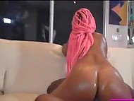 Ebony bombshell with pink dreadlocks shakes her massive buttocks riding huge black dick 11