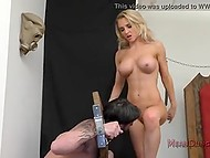 Imperious mistress chained bearded man with manacles and forced to lick her juicy caves 5