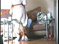 Black-haired woman from Croatia pleased skinny husband with awesome blowjob at home 3