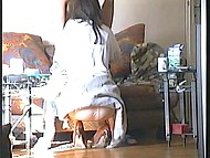 Black-haired woman from Croatia pleased skinny husband with awesome blowjob at home 5