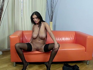 Solo adventure where madame in stocking wants to reach an orgasm and uses glass dildo for that
