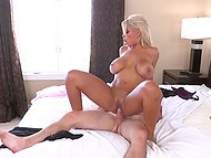 Busty blonde pornstar Bridgette B shows guy difference between fucking girls and sex with women 4