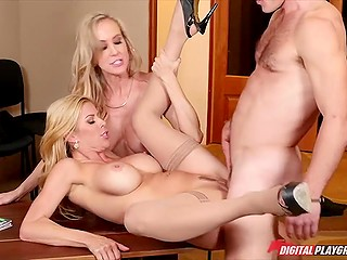 Lucky curly buddy participates in threesome action with two gorgeous blonde MILFs