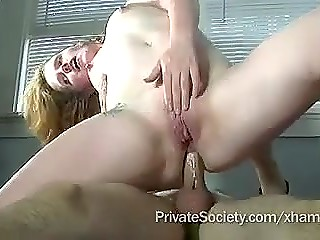 Boyfriend fucked both tight holes of curly-haired girlfriend and inseminated her pleased pussy