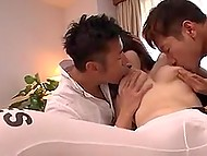 Two males couldn't leave without attention neither Japanese girl's juicy boobs nor her tender mouth