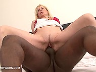 Mature dame starts her day with interracial sex and receives cumload on pubis after crazy pussy fucking
