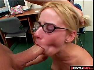Light-haired chick with pierced nipples swallowed fresh sperm after awesome group fuck