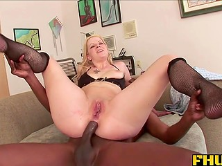 At the end of awesome sex with pale-skinned babe, black fucker creampied her tight asshole
