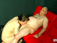 Shabby lady with big natural tits serves old guy's cock and he is pretty happy of that 9