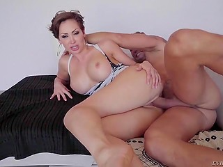 After deepthroat blowjob, tattooed male severely penetrated short-haired MILF