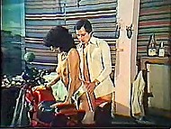 Vintage porn video with curly Greek female getting her asshole fucked by biker