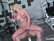 Bald coach showed stacked MILF an easy way to keep her body in good shape