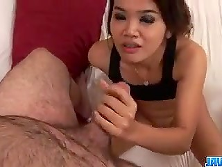 Dude slowly takes off charming Japanese babe's panties and gives his weapon for blowjob