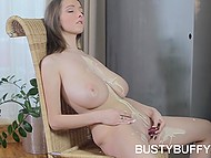 Entrancing Czech suddenly undressed and began to knead her immense natural coconuts
