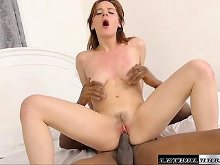 Black-skinned macho fed elegant colleen with semen at the end of ardent fuck