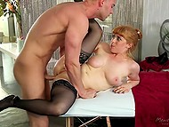 Seductive sweetie in beautiful stockings wasn't averse to have anal sex on the massage table