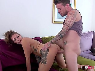 Bearded lad fucked stepsister with tattoos and sprinkled sperm inside trimmed vagina