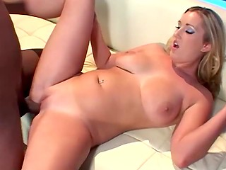 White-headed babe with huge natural boobies got rigidly blacked on the white couch