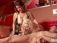 Vigorous BBWs easily fulfilled the sexual desires of many men in the German group sex video