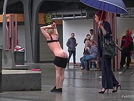 Tall dame forces petite blonde slave to fulfill her lustful desires and show goodies in public place