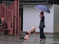 Tall dame forces petite blonde slave to fulfill her lustful desires and show goodies in public place 4