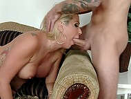 Only a huge load of sperm in the mouth could calm the insatiable MILF with meaty boobies 5