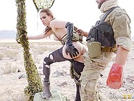 Soldier with eyepatch tore prisoner's black pantyhose and fucked her asshole in the desert 10